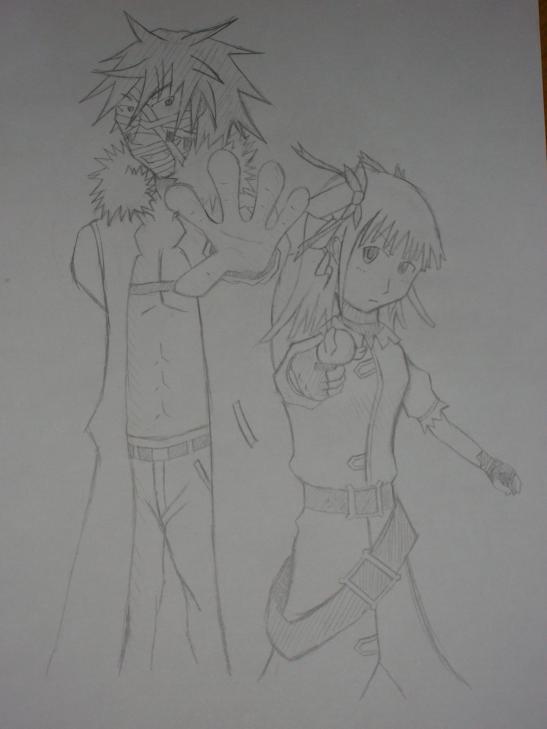 線画 ハルキヨ、千莉