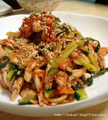 鶏ササミとキムチのサラダ
