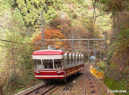 高野山へ向かうケーブルカー(南海鋼索線)