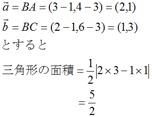 三点から三角形の面積の計算