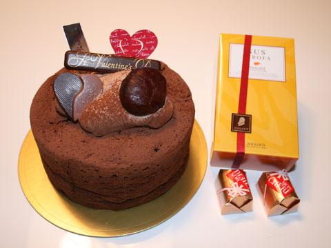 ケーキにチョコレート