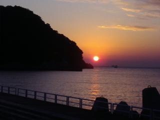 一月の夕日
