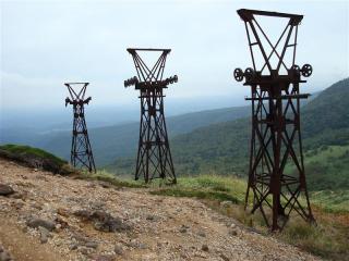 小串鉱山(硫黄鉱山)索道跡