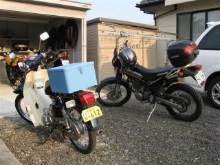 斜陽とバイク