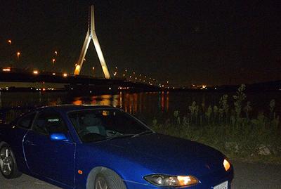 夜の芦田川大橋とS15 SILVIA