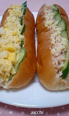 ツナ&卵のチーズフレークサンドup