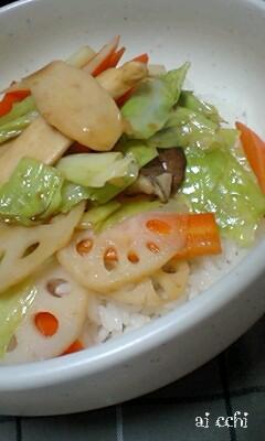 野菜炒め丼up