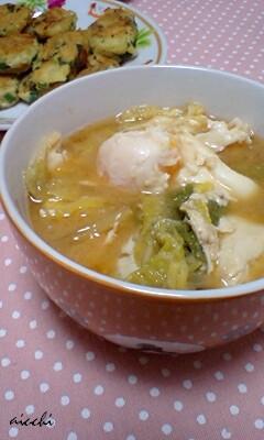 豆腐白菜卵のお味噌汁
