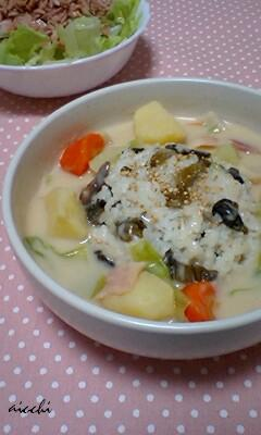 きのこシチュー高菜ご飯