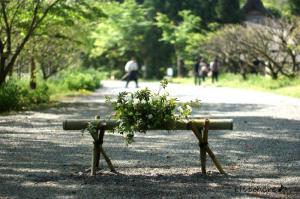 叶匠寿庵の入り口です。いつも素敵な草花が生けてあります
