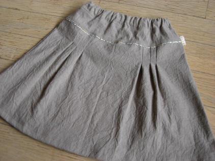 綿麻カーキのスカート