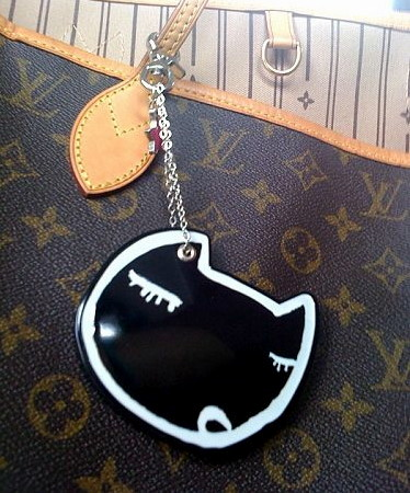 LV bag with TC Meow Meow Keyholder