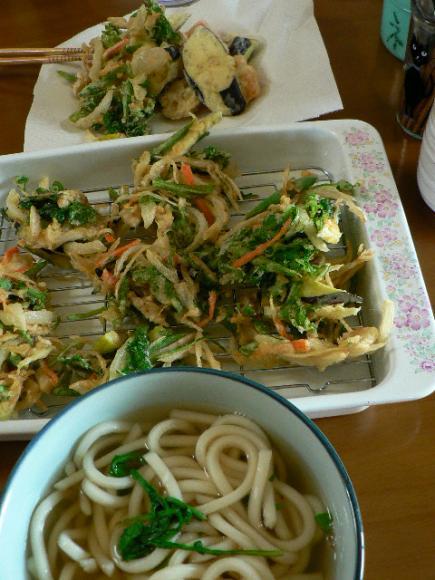 残り野菜とベランダ野菜でかき揚げ
