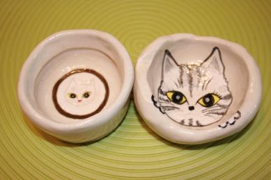 白土猫茶碗