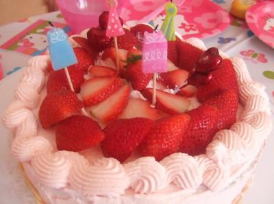 かわいいピンクのケーキ