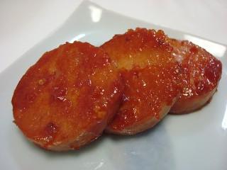 魚肉ハムのマスタードケチャップ炒め