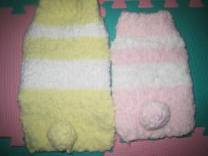 0124 001 うす黄色&ピンクのボーダーセーター