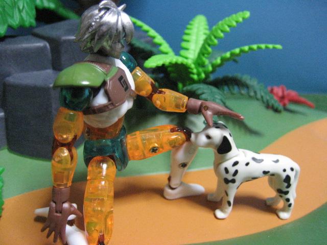 犬と戯れるキサナ