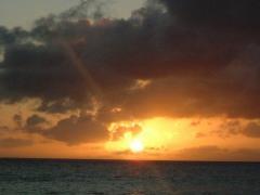 長間浜からの夕日