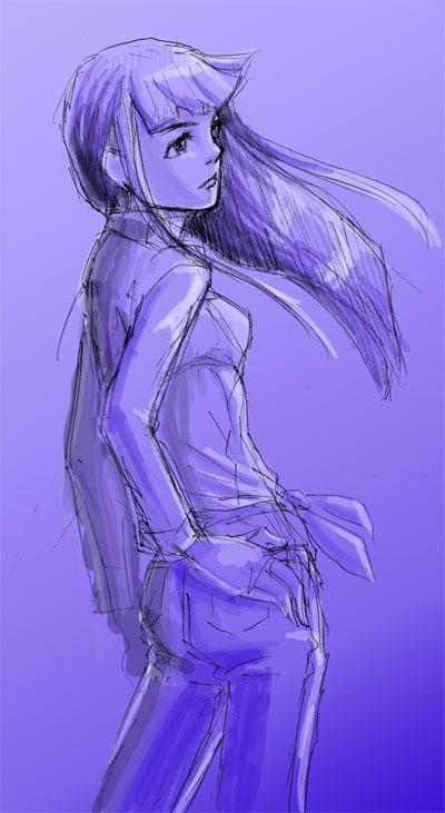 パッツン黒髪美女