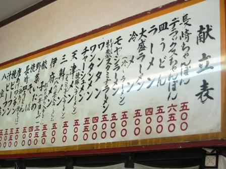 長崎飯店メニュー