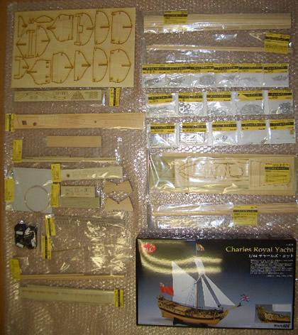 木製帆船模型チャールズヨット部品