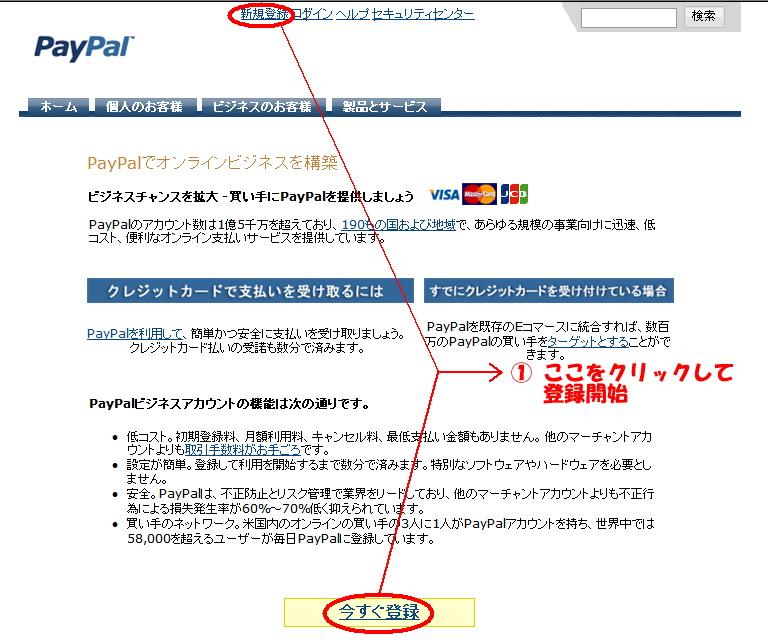 PayPalアカウント新規登録 手順1