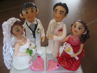 ウエディング人形2組