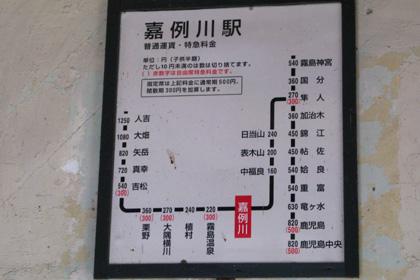 嘉例川駅の路線図