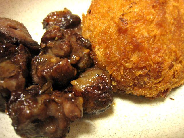 牛串焼きとコロッケ