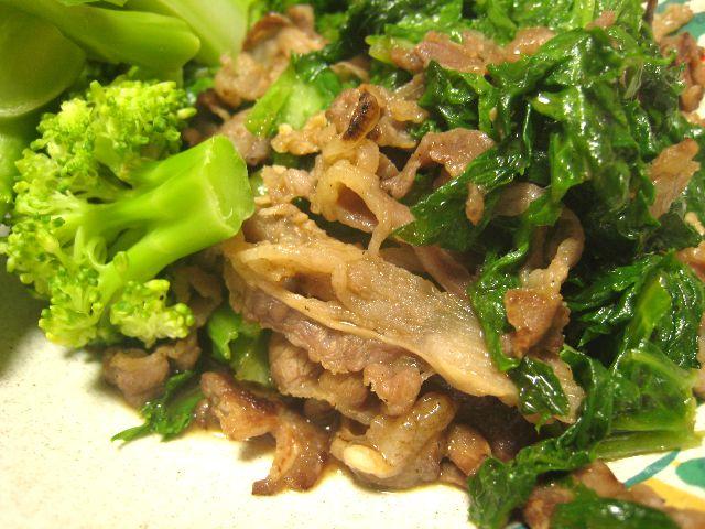 牛肉とわさび菜の炒め物