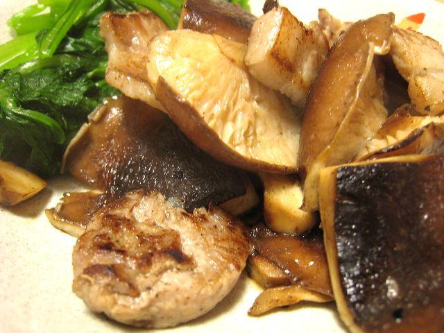 椎茸豚肉炒め