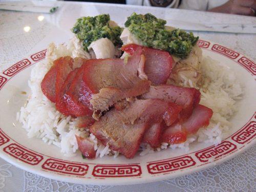ホノルルチャイナタウン 明園メニュー 叉焼蒸し鶏乗せご飯