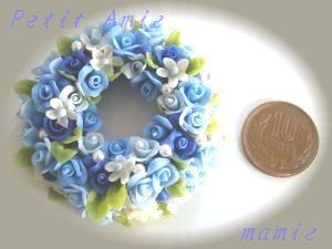 お花のリースブルー加工