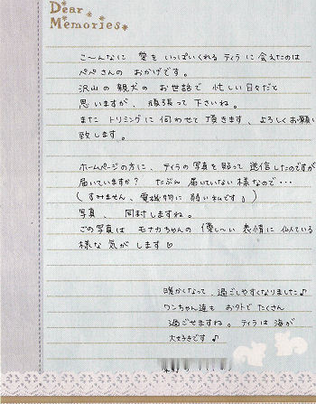 ティラちゃんからの手紙