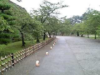 灯篭が並んでいる鶴ヶ城周辺