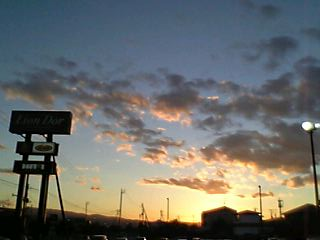 夕空、リオン・ドール滝沢店の駐車場より