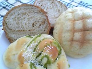 ラウンドメープル・メロンパン・うぐいすパン@またど~る