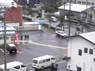 ファミリーマート会津白虎町店。強盗出没で物々しい雰囲気!