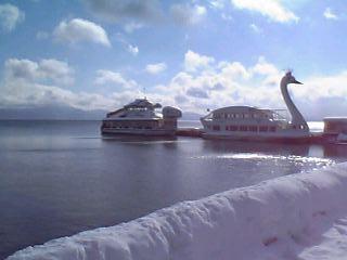 猪苗代湖:長浜、鶴と亀の遊覧船。
