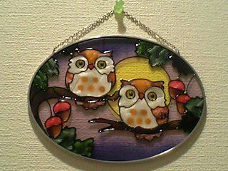 フクロウのステンドグラス壁飾り