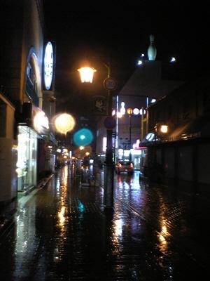 雨降る夜の野口英世青春通り