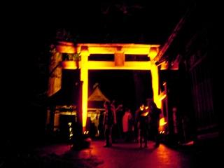 厳島神社の鳥居ライトアップ@飯盛山