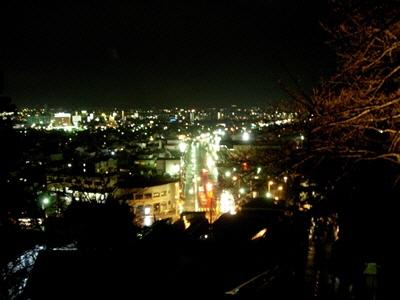 会津若松市内夜景。飯盛山より。