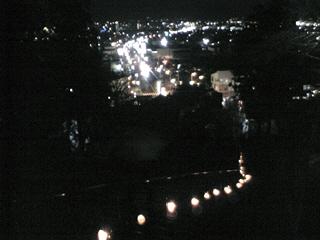 会津若松市内夜景と絵ろうそくの灯り@飯盛山