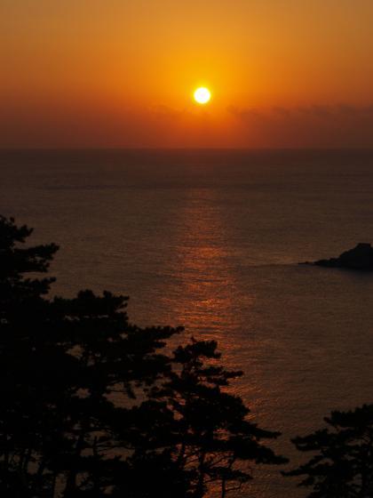 奥石廊の夕日