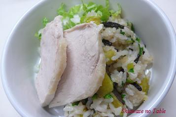 炊き込みごはんとゆで鶏