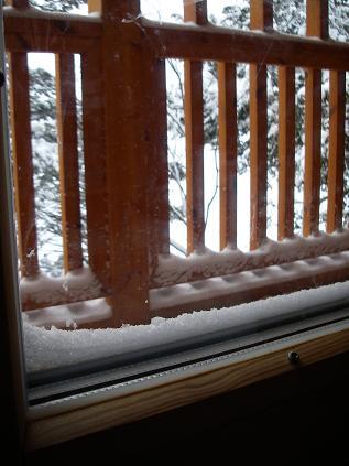 窓に積もった雪
