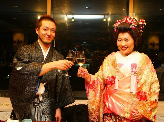 色打ち掛け 結婚式 弘前パークホテル 写真 スナップ ハッピー フォト