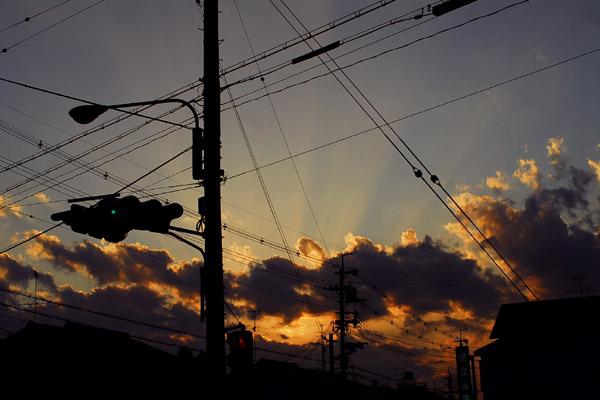 黄昏時の光